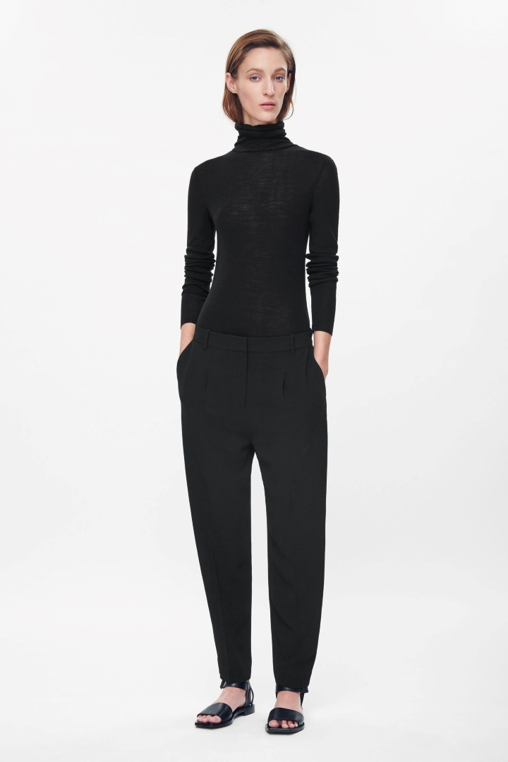 cos image 1 of pleated tapered trousers in black dzgyxqt
