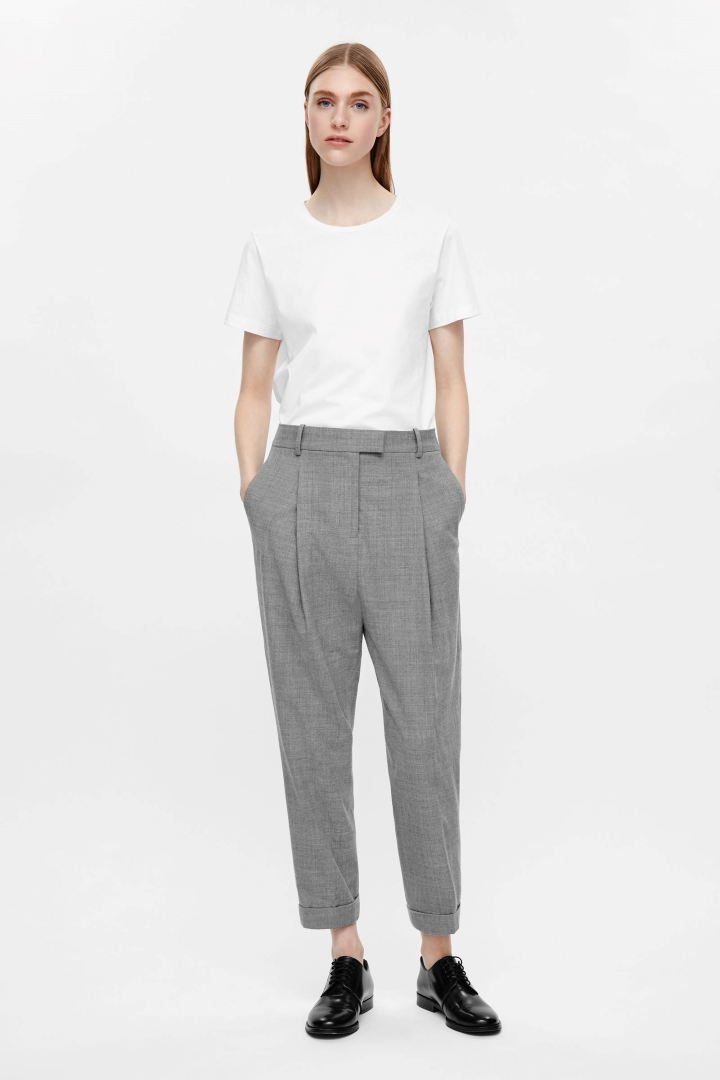 cos image 11 of tapered trousers in grey zkqzvqd