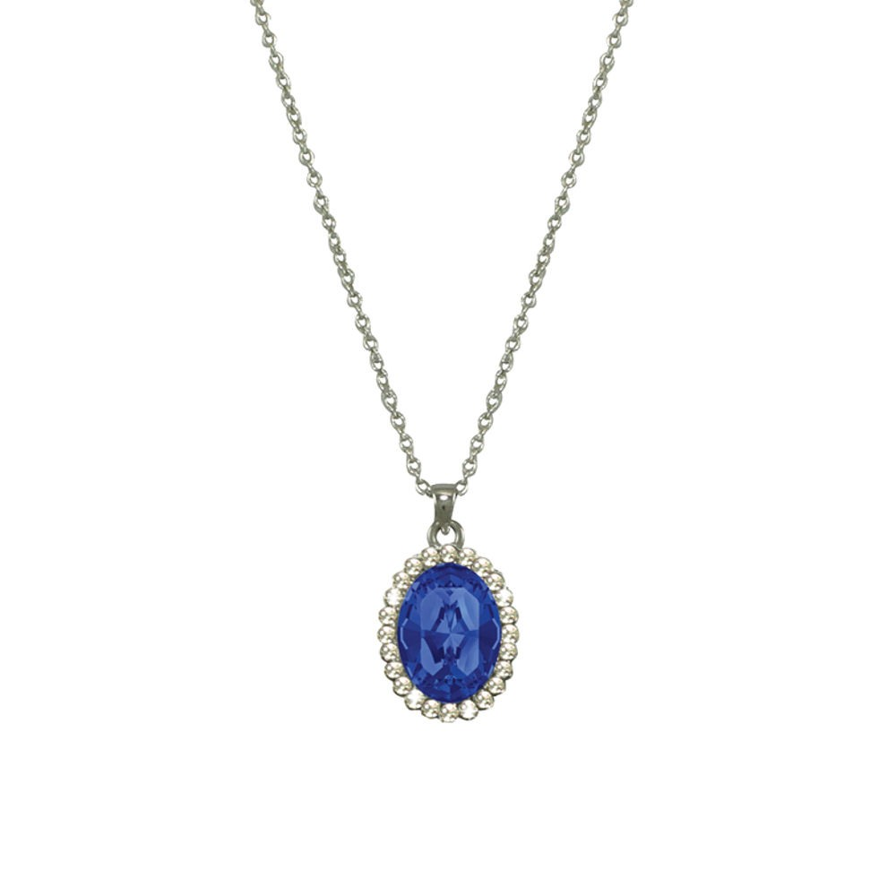 countess oval sapphire blue crystal silver tone pendant necklace grbvxft