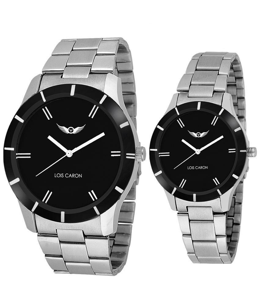 couple watches lois caron silver analog couple watch phxwvpv