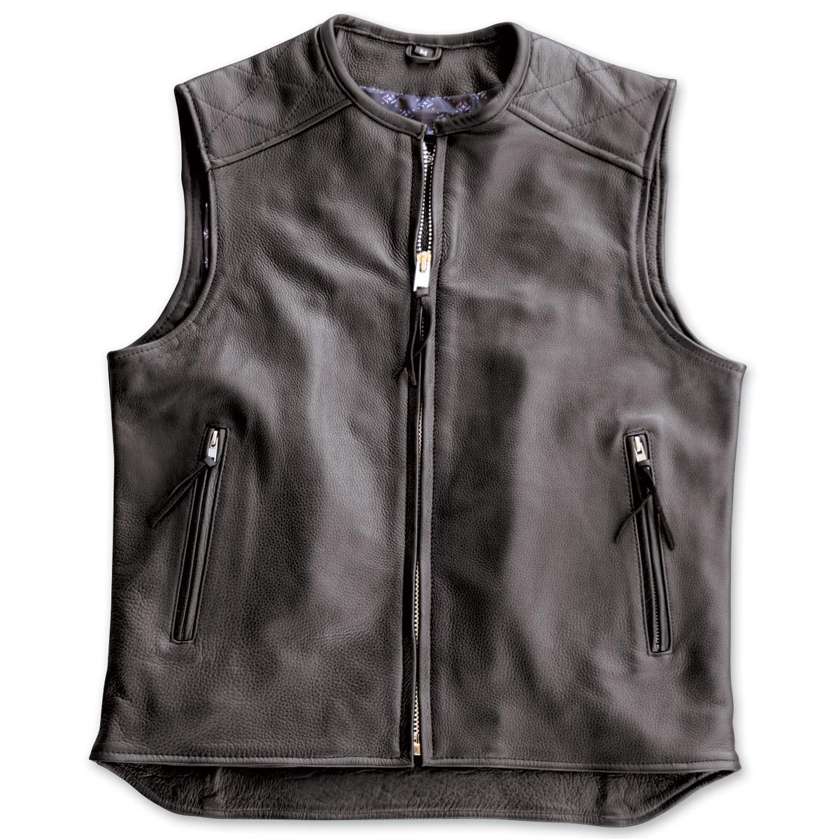 crank u0026 stroker supply hardball motorcycle black leather vest ... ygzqpki