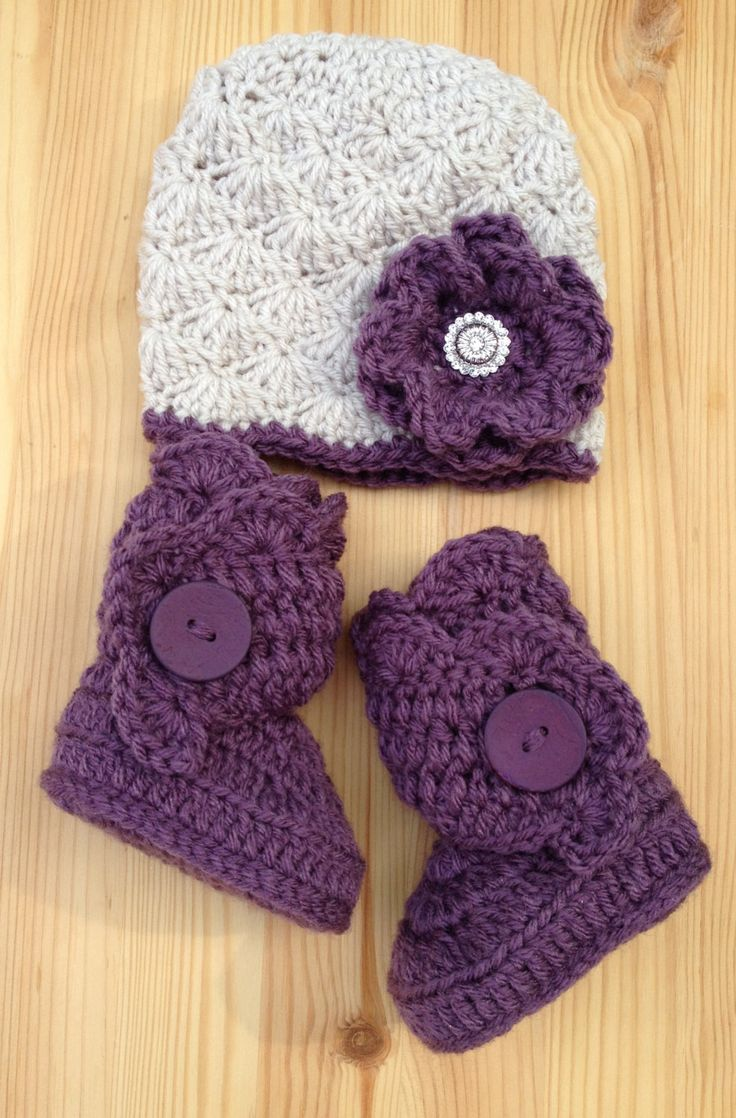 crochet baby hats urban baby hat and boots in linen/amethyst, purple baby boots, purple baby  shoes, baby qtvejtb