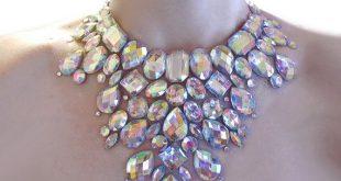 crystal ab rhinestone mega statement necklace, dramatic rhinestone necklace,  rhinestone burlesque necklace, clear ab hndezqg