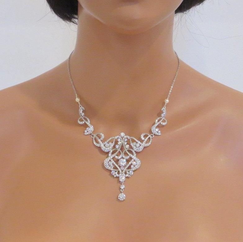crystal wedding necklace, pearl bridal necklace, bridal jewelry, cubic  zirconia necklace, art deco necklace, xwbegrf