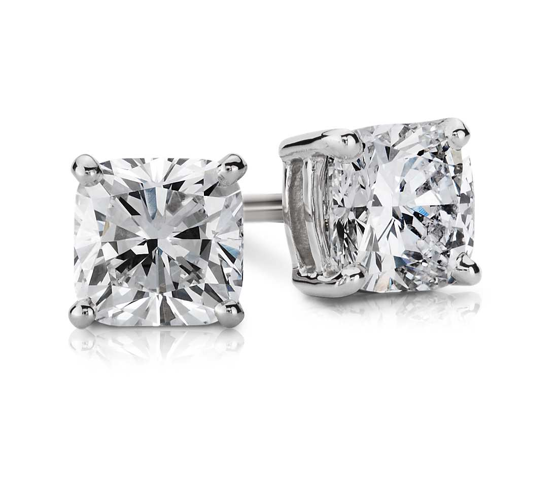 cushion diamond stud earrings in 14k white gold (1 ct. tw.) apwgdoc