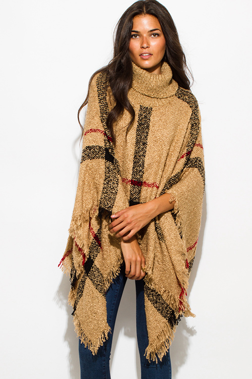 cute cheap camel beige giant checker plaid fuzzy boho knit poncho sweater  jacket tunic qammzkk
