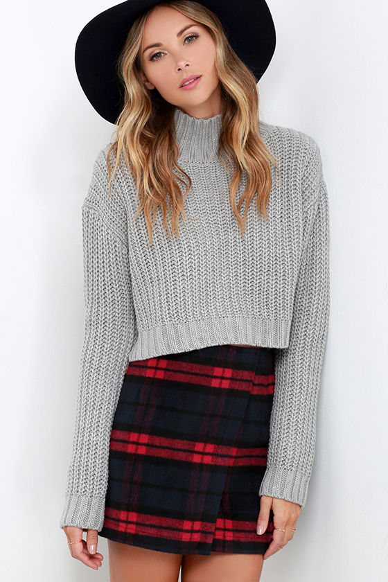 cute red navy plaid skirt - envelope skirt - flannel skirt - $52.00 fuwaixe