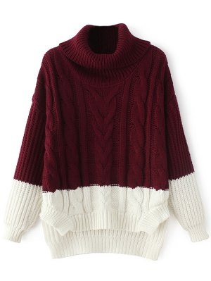 cute sweaters cowl neck high-low sweater - wine red qqoqgmx