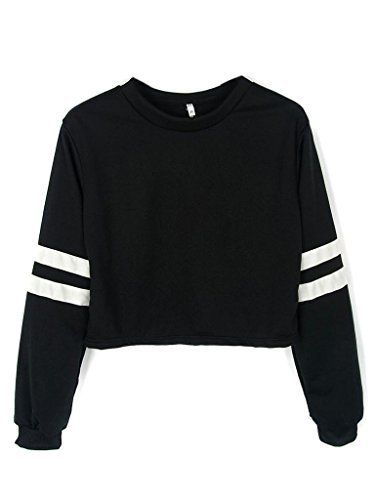 cute sweaters joeoy womenu0027s casual striped long sleeve crop top sweatshirt black-m vcsuaos