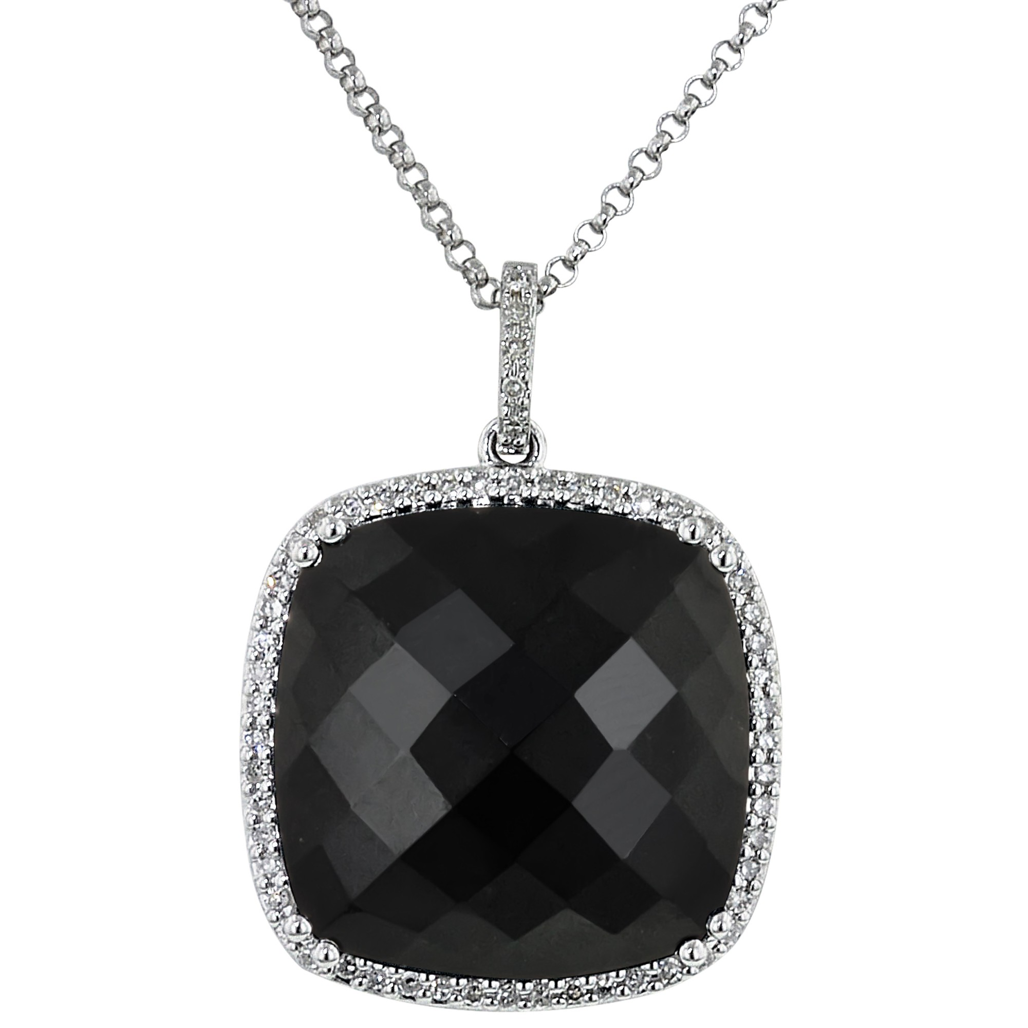 dabakarov black onyx necklace with diamonds in 14kt white gold (1/7ct tw) nydmmff