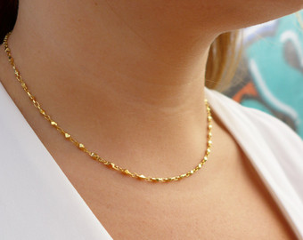 dainty gold chain necklace | chain necklace | gold necklace | dainty  necklace | svxukjn