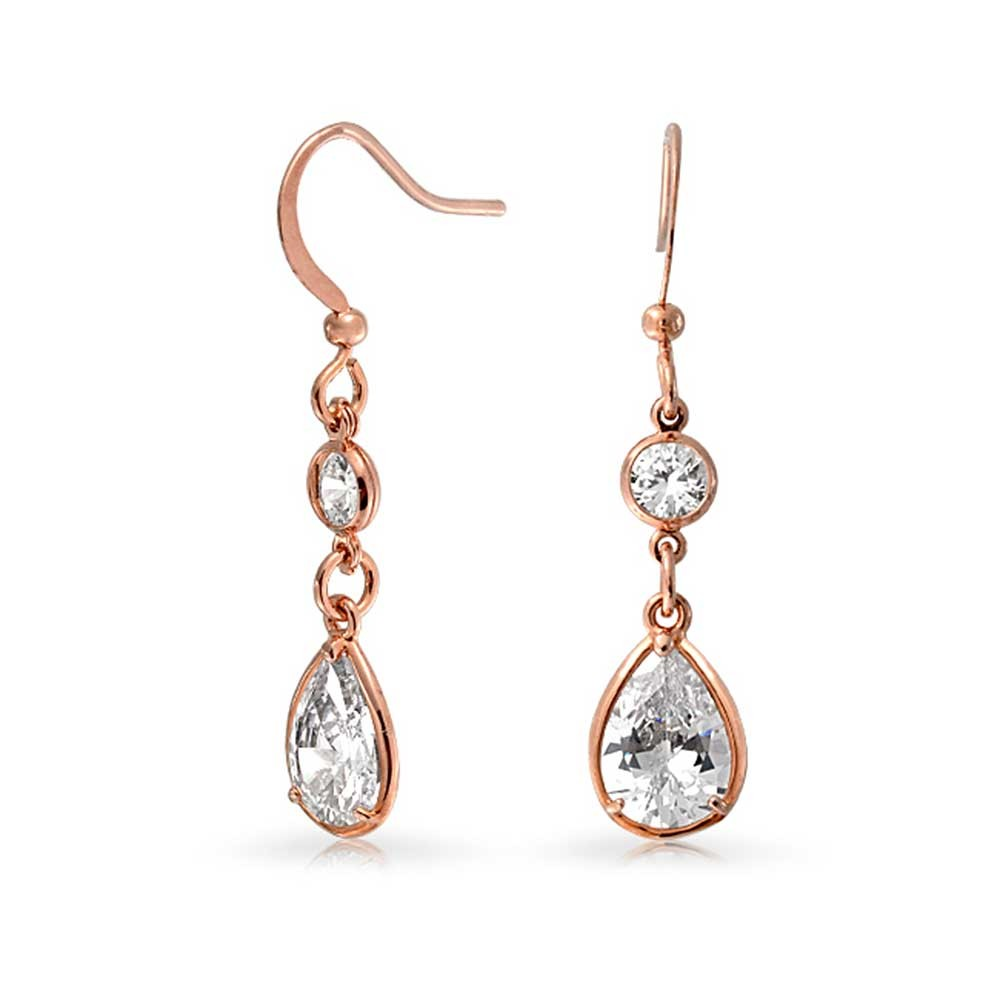 dangle earrings bling jewelry rose gold plated bezel set teardrop and round cz dangle  earrings imhyrux