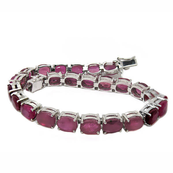 de buman sterling silver oval-cut natural ruby bracelet ssbqmha