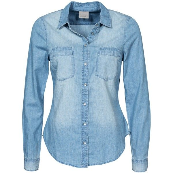 denim blouse vero moda vmmatilde ls denim shirt light blue found on polyvore featuring  tops, blouses, qzwcxjn