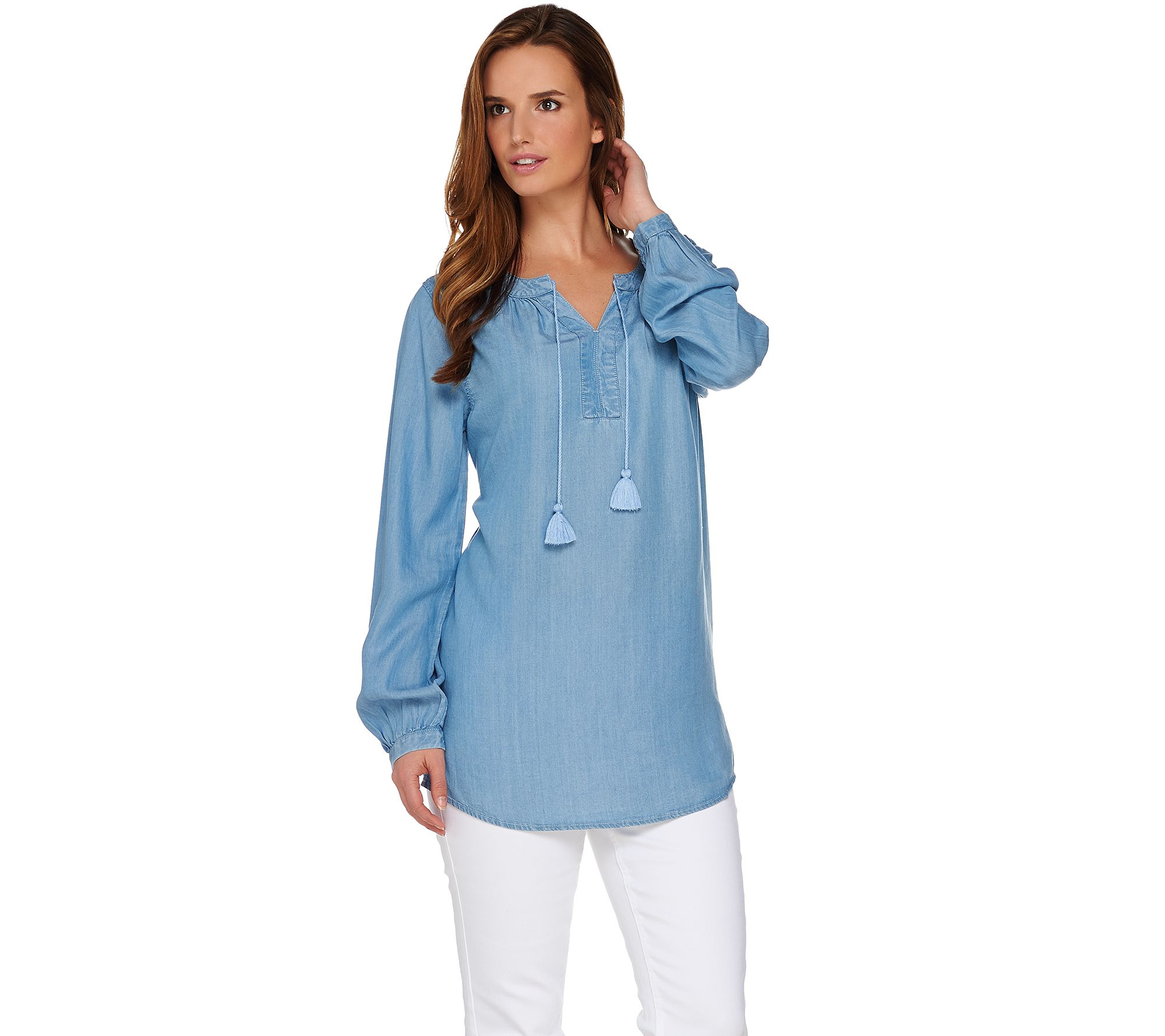denim tunic long sleeve tencel denim peasant tunic - page 1 - qvc.com wkuajgz