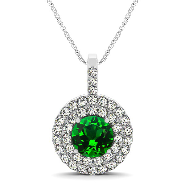 designer circle double halo emerald necklace dltixgf