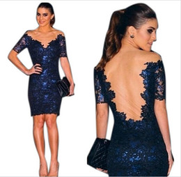designer cocktail dresses 2016 knee length cocktail dresses blue formal lace sexy sheer back shotr  sleeve short derszvy