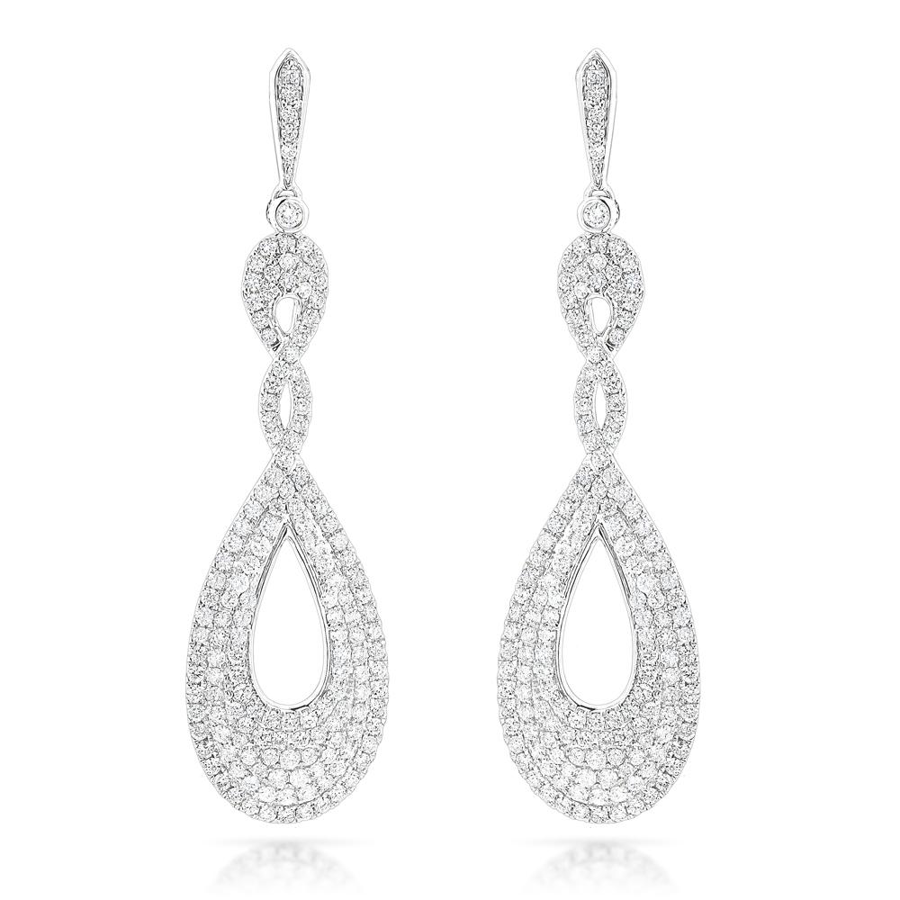 designer luxurman diamond drop swirl earrings for women 3.5ct in 14k gold didybvr