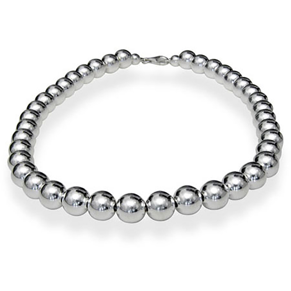 designer style 10mm sterling silver bead necklace sjbqfjh