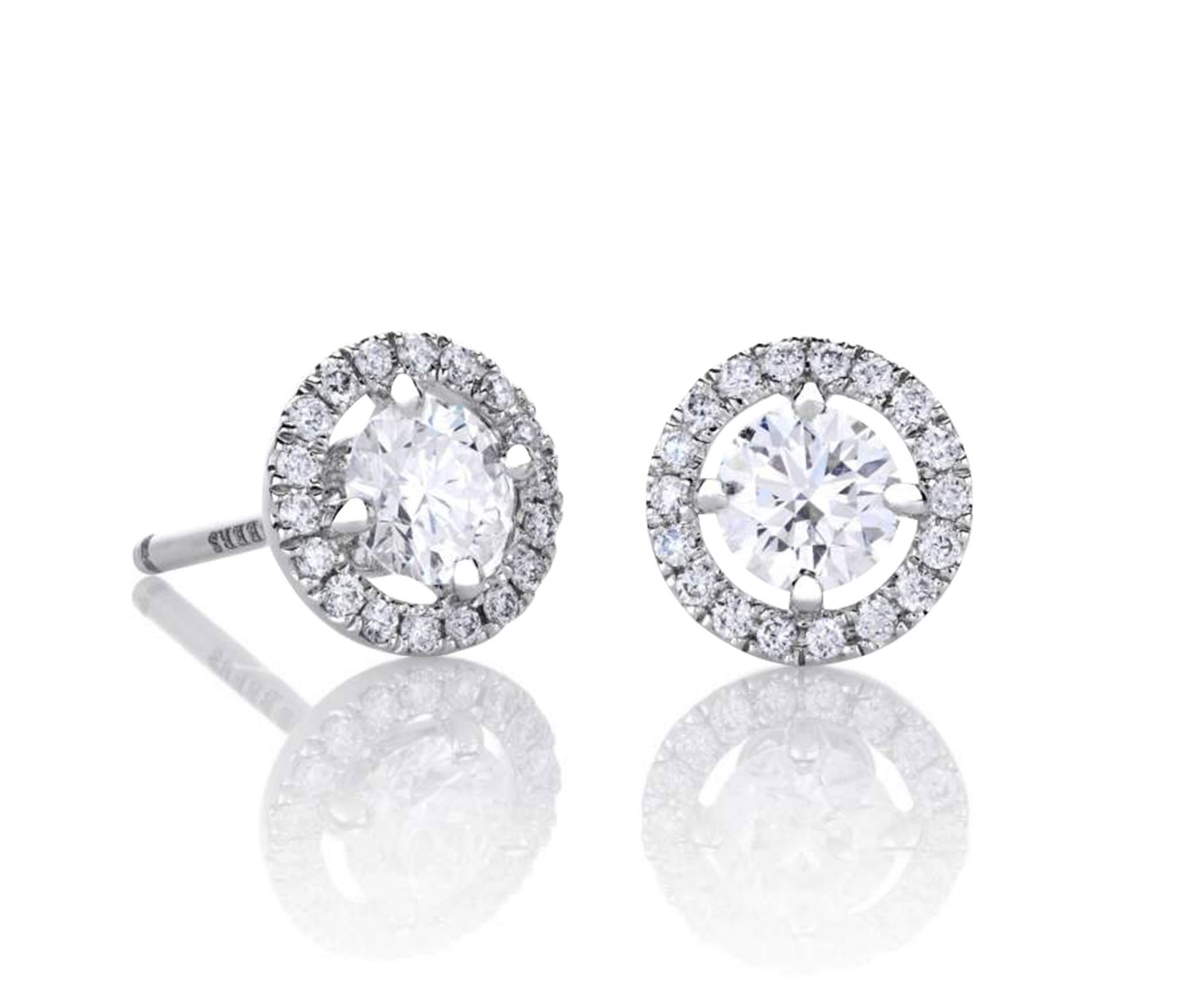 round gold p w stud white carat ct earrings wh diamonds diamond