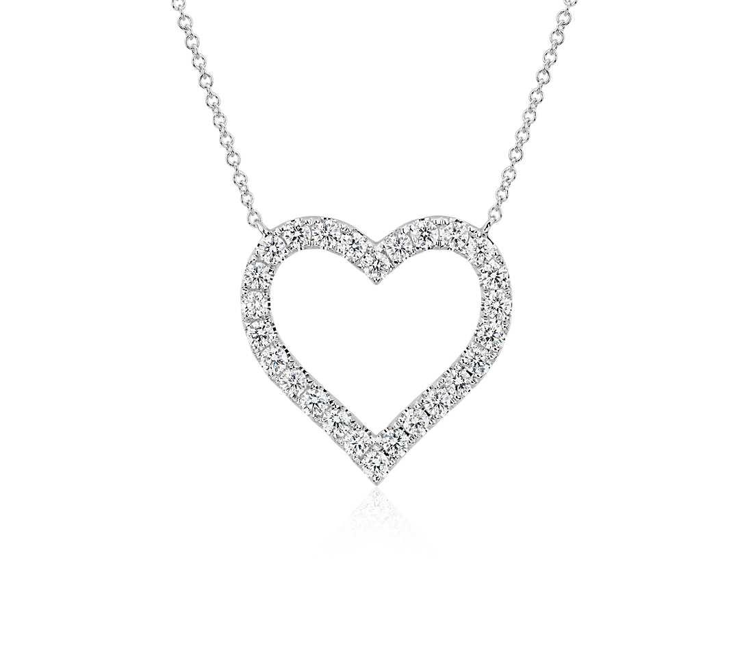 diamond heart necklace diamond heart pendant in 14k white gold (1 ct. tw.) bwfoafv
