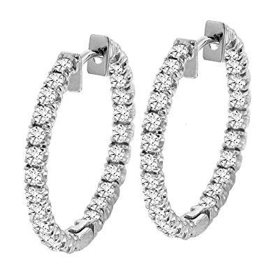 diamond hoop earrings 2.50 ct tw inside/outside round diamond hoops in 14k white gold gqbxhhe