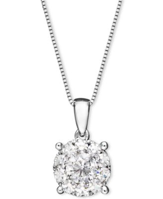 diamond pendant necklace in 14k white gold (1/2 ct. t.w.) uzkfdde