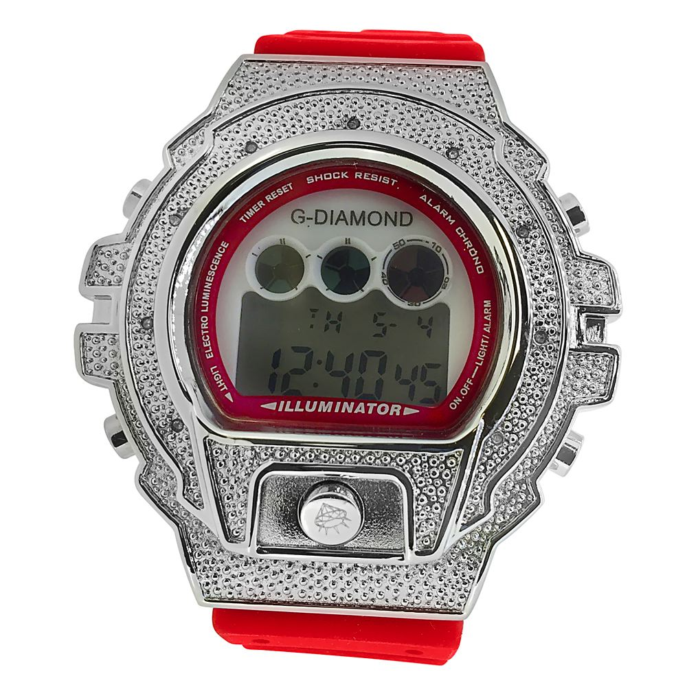 diamond watches digital red band .10ct diamond hip hop watch udkoods