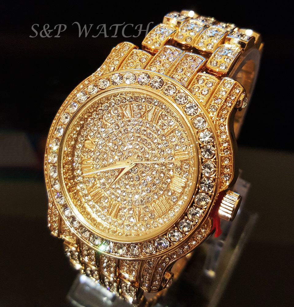 diamond watches men hip hop iced out gold tone techno pave bling simulated diamond rapper  watch junxzqk