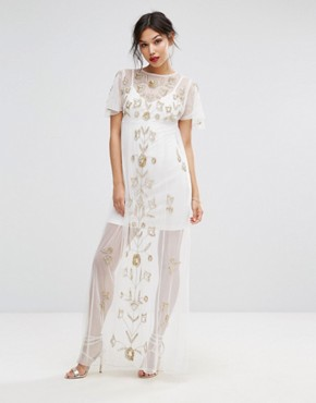 dress for wedding guest boohoo embroidered mesh overlay maxi dress lgikcic