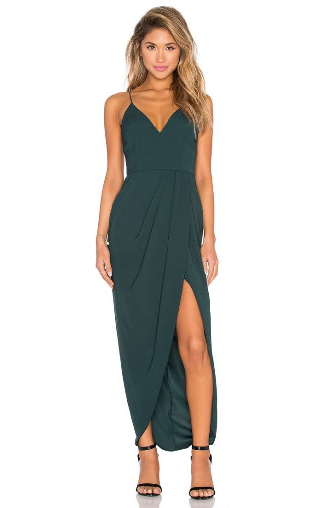 dress for wedding guest shona joy stellar drape maxi dress in seaweed hmzzapp