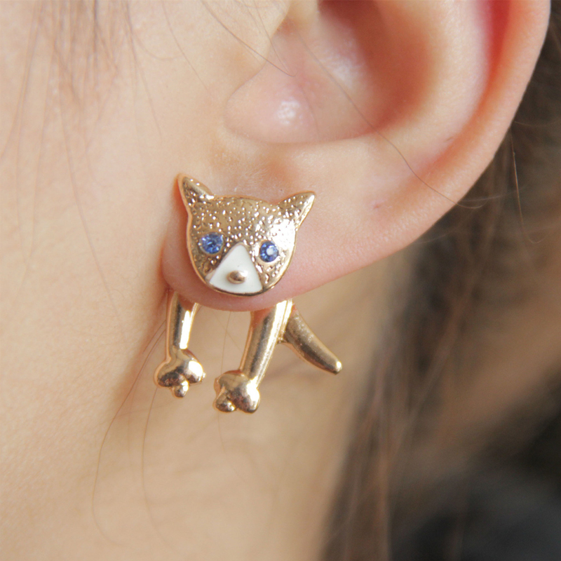 earrings for girls 2016 newest female girls cute enemal rhinestone dog stud earrings ear  jacket lovely poppy viwenji