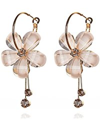 earrings for girls jewels galaxy sparkling colors flowerets aaa cubic zirconia 18k gold plated  hoop earrings for gwtgolp