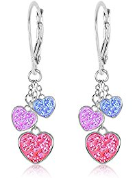 earrings for girls premium 8mm crystal heart leverback kids baby girl earrings by chanteur -  white gold qpgvljm