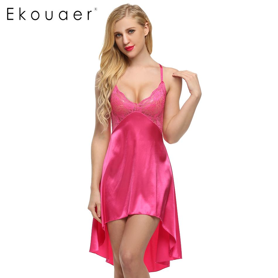 ekouaer ladies sexy satin night dress lace women sleepwear sleeveless  nighties v-neck nightdress sexy ylnrzzm