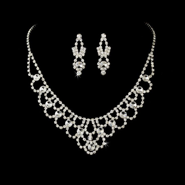 elegant rhinestone wedding or prom jewelry set xeeudow