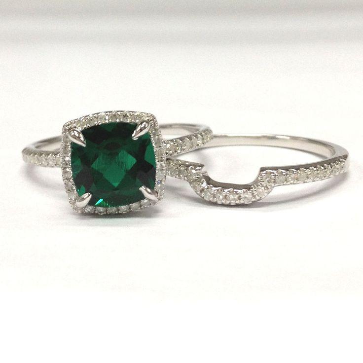 emerald engagement rings $758 cushion emerald engagement ring sets pave diamond wedding 14k white  gold 8mm rsfubxh