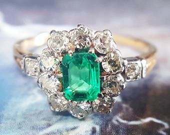 emerald engagement rings emerald engagement ring | antique emerald ring | vintage engagement ring |  antique engagement xrgvjyu