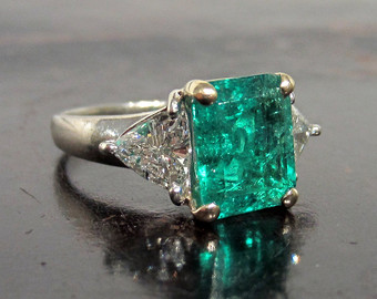 emerald engagement rings vintage emerald engagement ring with trillion cut diamond 18k, vintage engagement  ring, emerald cut uwvsvmg