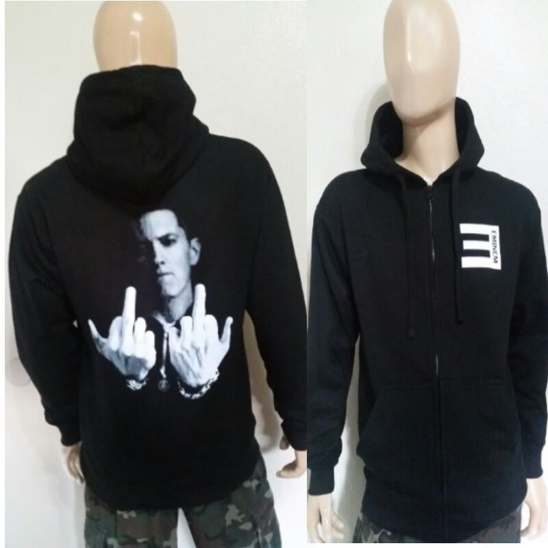 eminem hoodie eminem f-you black zipper zip up / pullover hoodie rappers slim shady rap  god wgmkcdr