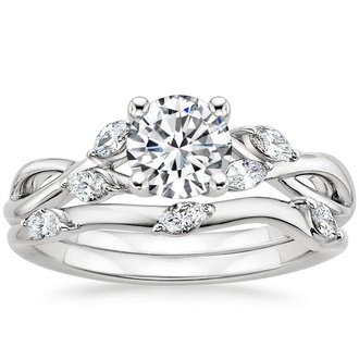 engagement ring sets 18k white gold. willow bridal set ... wooxwpi