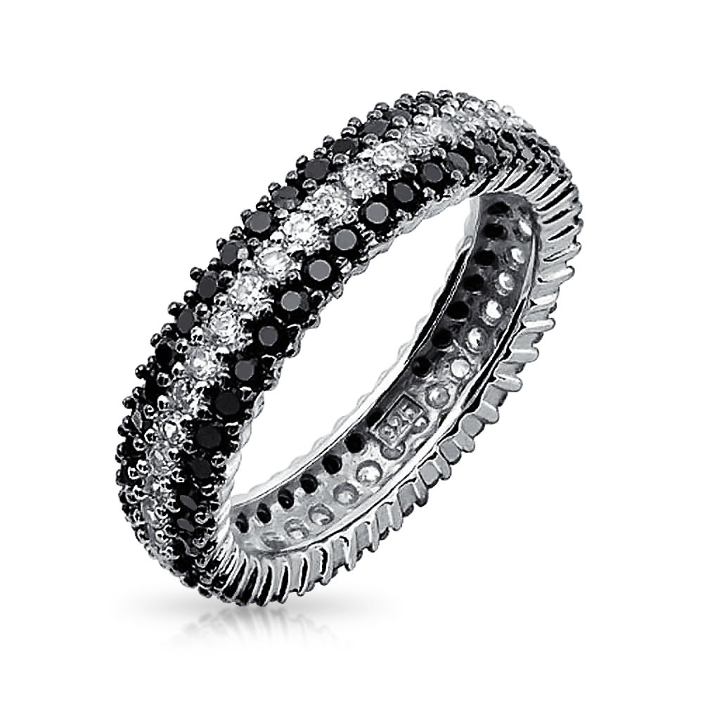 eternity ring bling jewelry 925 sterling silver round cubic zirconia black white eternity  ring lgylldb