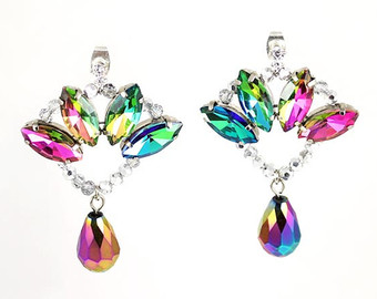 eva crystal earrings, colorful statement earrings, cocktail earrings,  rainbow earrings, party earrings lfqtqhb