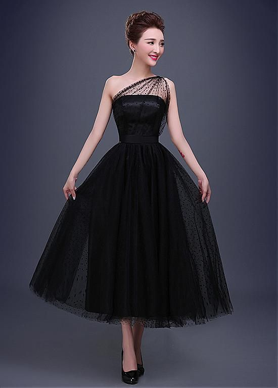 evening wear in stock elegant dot tulle one-shoulder neckline a-line evening dress cjjudtu