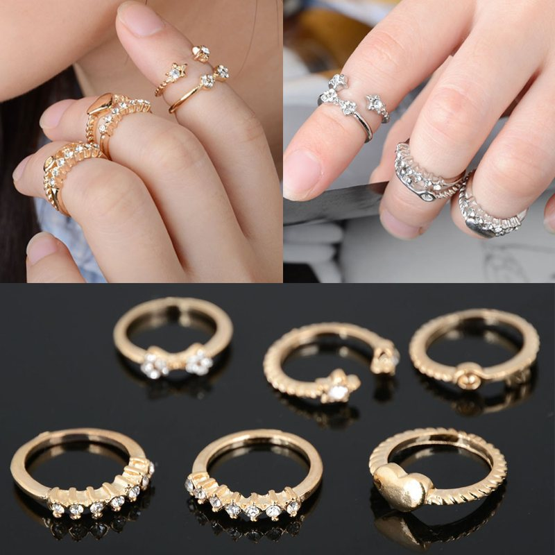 fashion rings for women anel feminino 7pcs gold bowknot heart crystal midi  mid finger jynztyd
