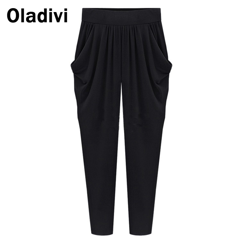 fashion women black harem pants plus size apparel 5xl 2017 spring summer  new arrival irdnvgh