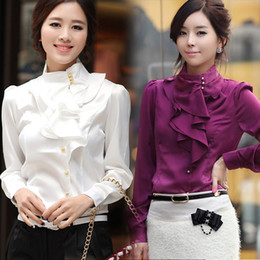 fashionable tops 2015 promotional new fashion women ruffle shirts ol dress shirt fashionable  tops faux long ktohiof