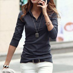 fashionable tops polo collar long sleeves solid color casual t-shirt for women xlnrzhh