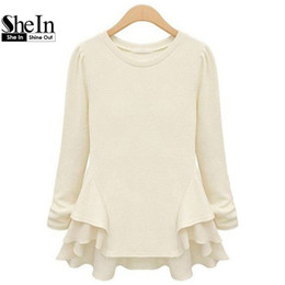fashionable tops wholesale- shein new autumn hot top womenu0027s beige long sleeve contrast  chiffon ruffles tees wojnhdf