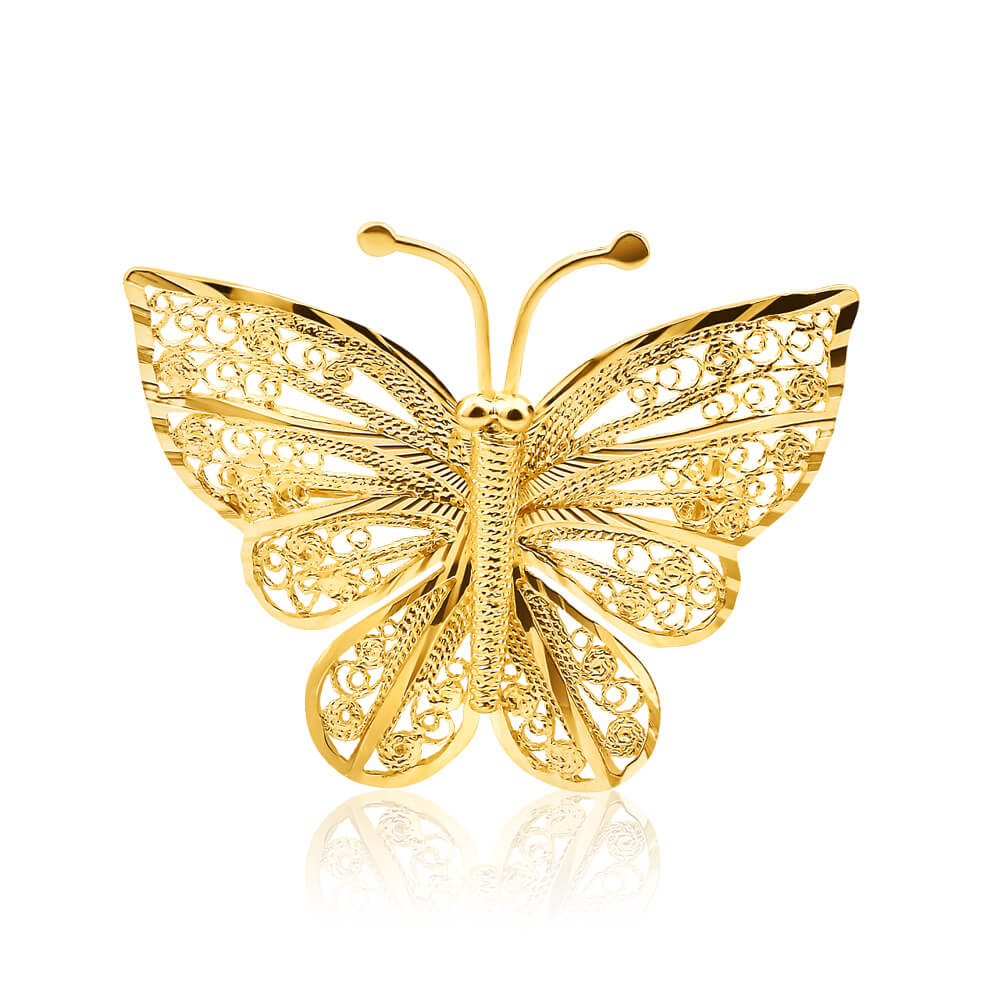 filigree butterfly brooch in 9ct yellow gold image-a mspnwyv